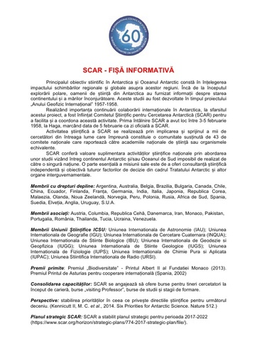 Romanian version of SCAR Fact Sheet, February 2018
