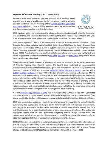 Report on 39th CCAMLR meeting