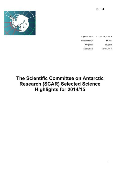 BP004: The Scientific Committee on Antarctic Research (SCAR) Selected Science Highlights for 2014/15