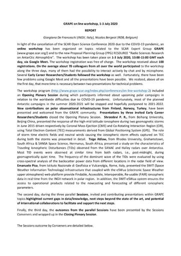 GRAPE Online Workshop Report July 2020