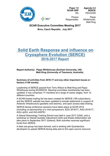 SCAR EXCOM 2017 Paper 12: Report on SERCE Activities and Plans