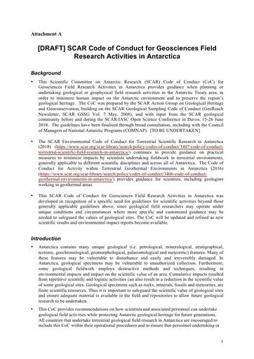 ATT090 to IP050: [Draft] SCAR Code of Conduct for Geosciences Field Research Activities in Antarctica
