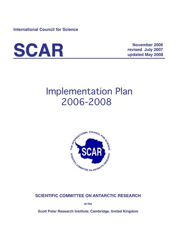 SCAR Implementation Plan 2006-2008