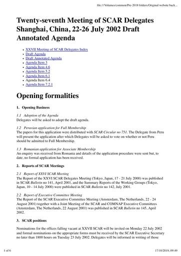 SCAR XXVII Paper 2: Annotated Agenda