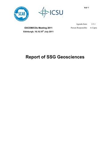 SCAR EXCOM 2011 WP07: Report of SSG Geosciences