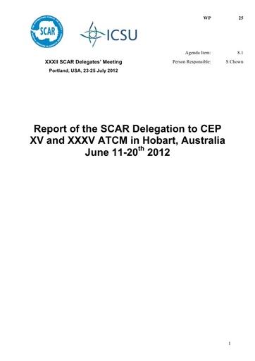 SCAR XXXII WP25: Report of the Standing Committee on the ATS