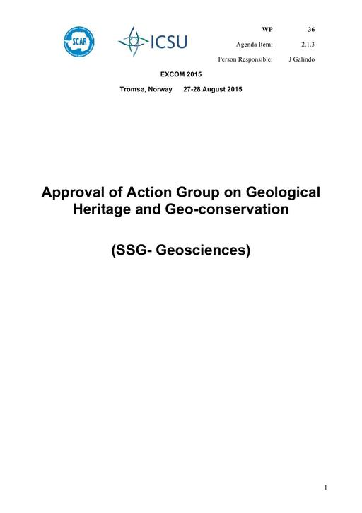 SCAR EXCOM 2015 WP36: Action Group on Geological Heritage and Geo-conservation