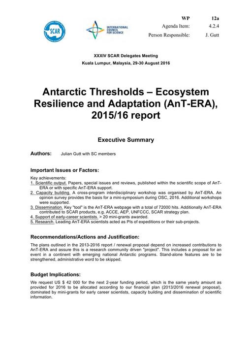SCAR XXXIV WP12a: Report on AnT-ERA (Antarctic Thresholds - Ecosystem Resilience and Adaptation)