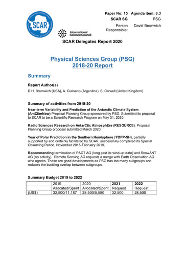 SCAR XXXVI Paper 15: Report of Physical Sciences Group