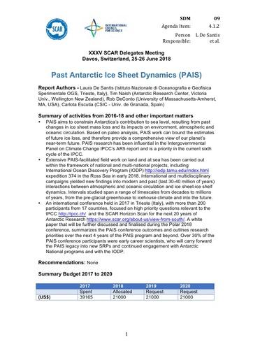 SCAR XXXV WP09: Past Antarctic Ice Sheet Dynamics (PAIS)
