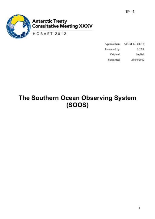 IP002: The Southern Ocean Observing System (SOOS)