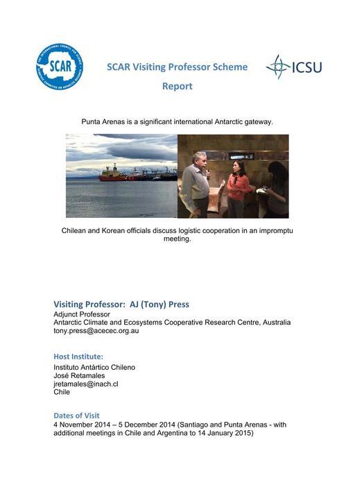 Tony Press - 2013 Visiting Professor Report