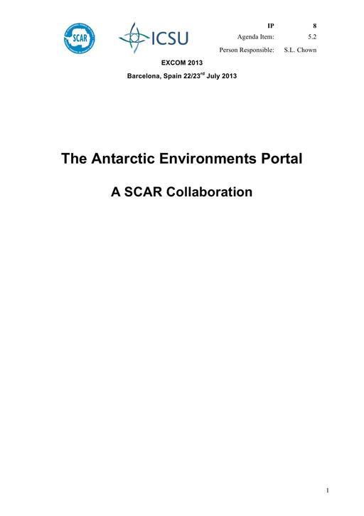SCAR EXCOM 2013 IP08: The Antarctic Environments Portal - A SCAR Collaboration