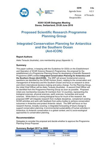 SCAR XXXV WP14a: Proposed Scientific Research Programme Planning Group - Integrated Conservation Planning for Antarctica and the Southern Ocean (Ant-ICON)