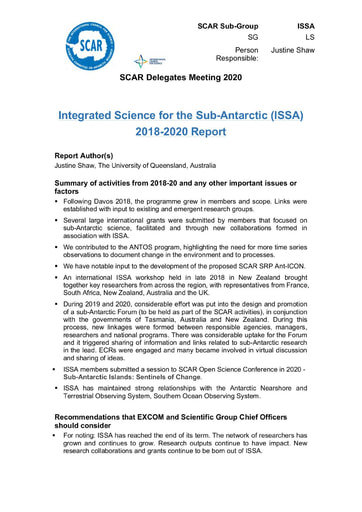 ISSA Action Group Report 2020