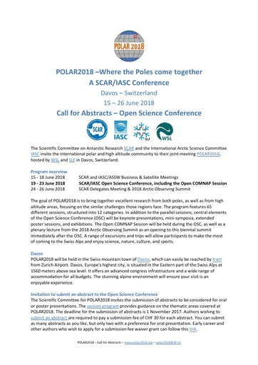 POLAR2018 Conference - Call for Abstracts