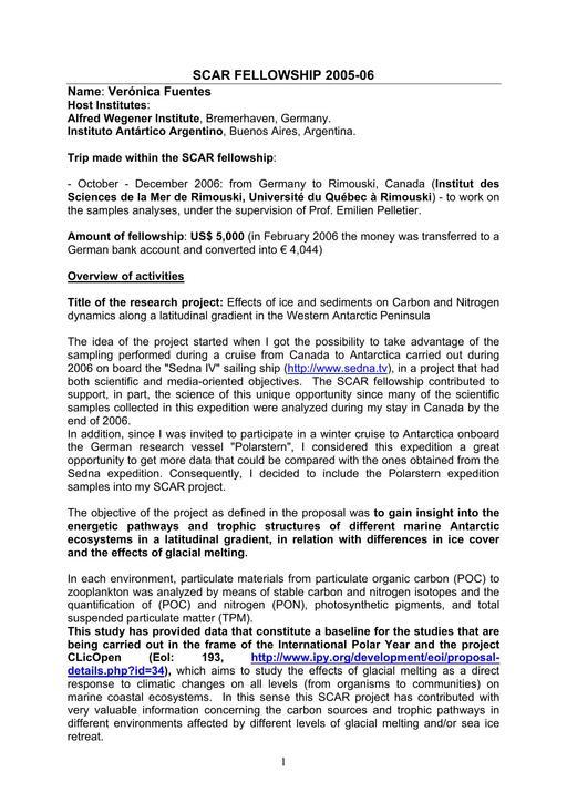 Fuentes 2005 Fellowship Report