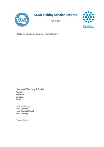 Visiting Scholar Report Template