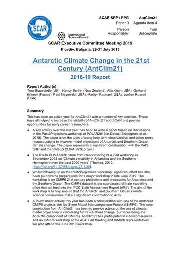 SCAR EXCOM 2019 Paper 3: Report from AntClim21 SRP