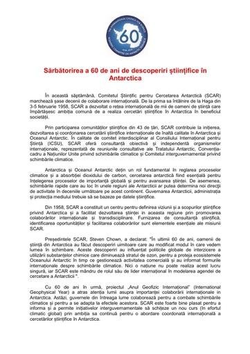 Romanian version of SCAR's 60th Anniversary Press Release