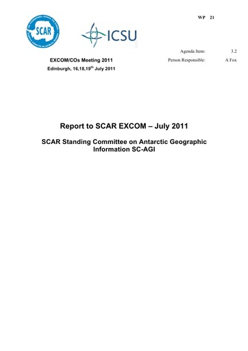 SCAR EXCOM 2011 WP21: Report on the SCAR Standing Committee on Antarctic Geographic Information (SC-AGI)