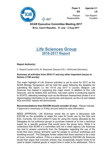 SCAR EXCOM 2017 Paper 5: Report of Life Sciences Group Activities and Plans