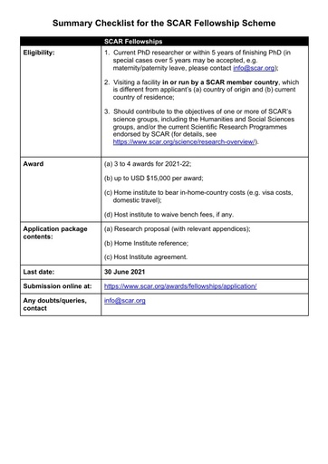 2021 SCAR Fellowship Pack