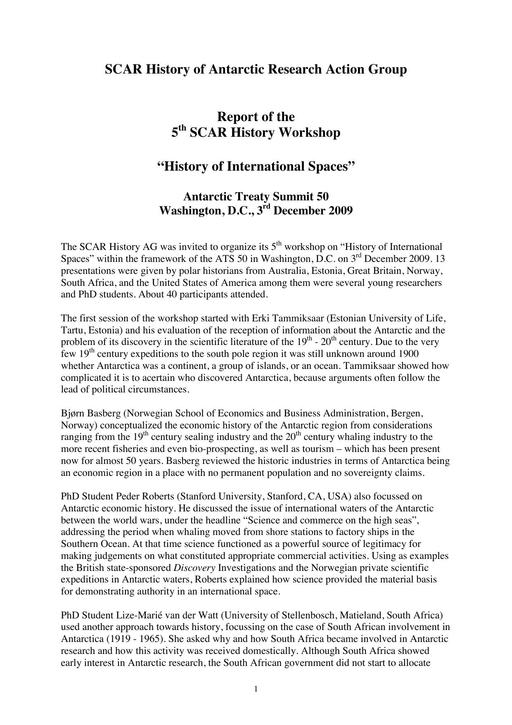 Report of the 5th Meeting of SCAR History Action Group 2009: History of International Spaces
