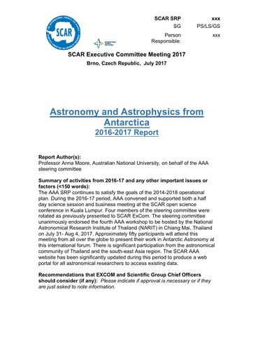 SCAR EXCOM 2017 Paper 7: Report on AAA Activities and Plans