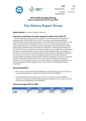 SCAR XXXV Paper 20: History Expert Group Report