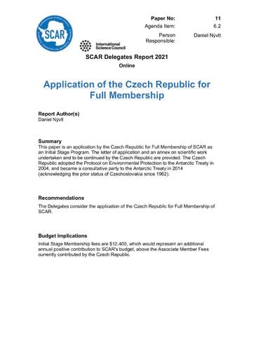 SCAR XXXVI Paper 11: Application of the Czech Republic for Full Membership