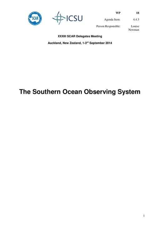 SCAR XXXIII WP18: The Southern Ocean Observing System (SOOS)
