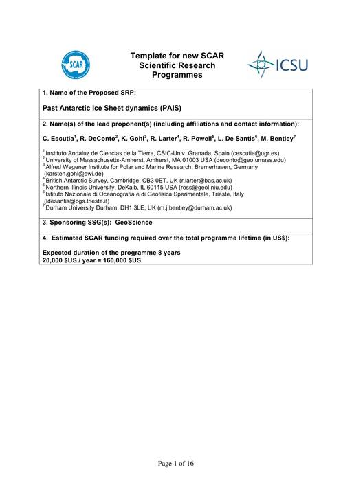 Past Antarctic Ice Sheet Dynamics (PAIS) Scientific Research Project Proposal 2013