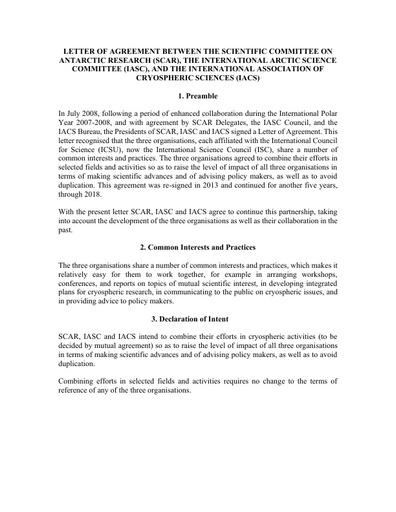 LoA between SCAR, IASC and IACS, signed 6 January 2020