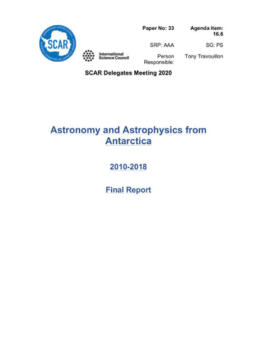 SCAR XXXVI Paper 33: Final Report of SRP AAA (Astronomy and Astrophysics in Antarctica