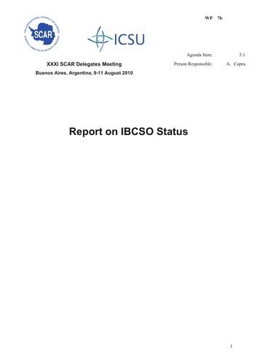 SCAR XXXI WP07b: Report on IBCSO Status
