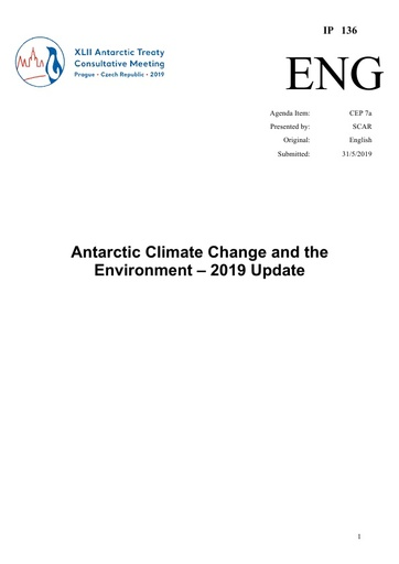 IP136: Antarctic Climate Change and the Environment – 2019 Update