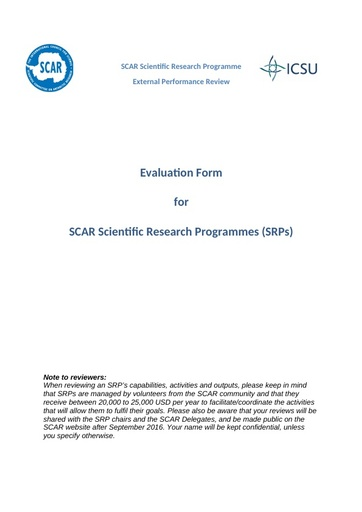 Evaluation Form for external reviewers for 2016 SRP Review