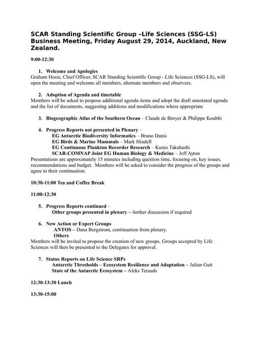 Life Science Annotated Agenda 2014