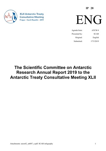 IP028: The Scientific Committee on Antarctic Research Annual Report 2019 to the Antarctic Treaty Consultative Meeting XLII