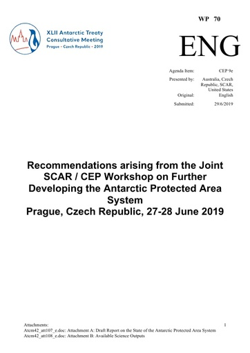 WP070: Recommendations arising from the Joint SCAR / CEP Workshop on Further Developing the Antarctic Protected Area System