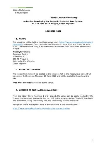 Joint SCAR-CEP Workshop Logistics Note