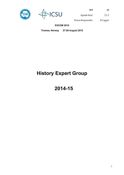 SCAR EXCOM 2015 WP19: Report from the SCAR History Group