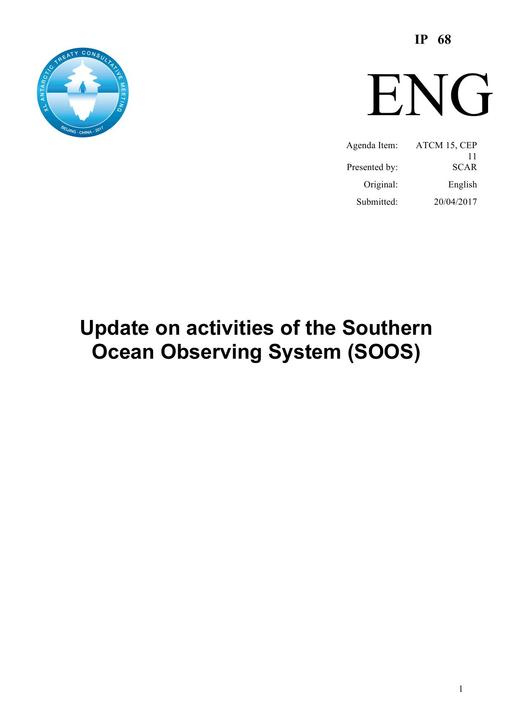 IP068: Update on Activities of the Southern Ocean Observing System (SOOS)