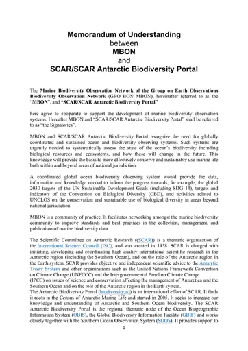 MoU between MBON and SCAR, signed 25 June 2021