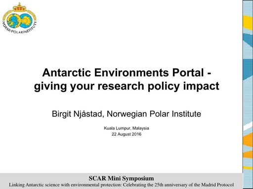 Birgit Njaastad's presentation on the Antarctic Environments Portal