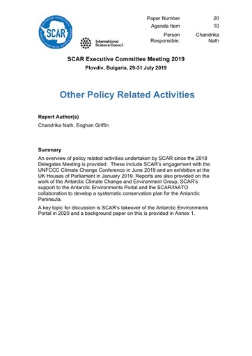SCAR EXCOM 2019 Paper 20: Other Policy Related Activities