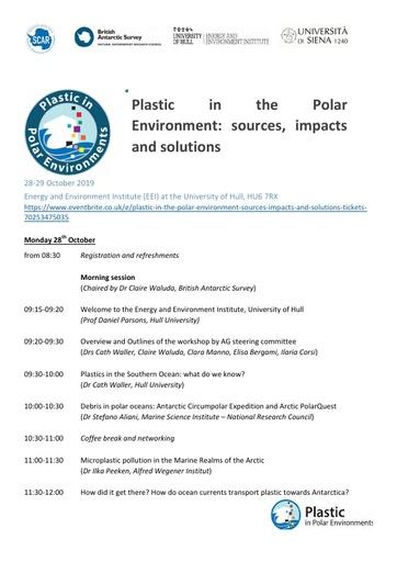 Plastic in the Polar Environment - Workshop Programme, October 2019
