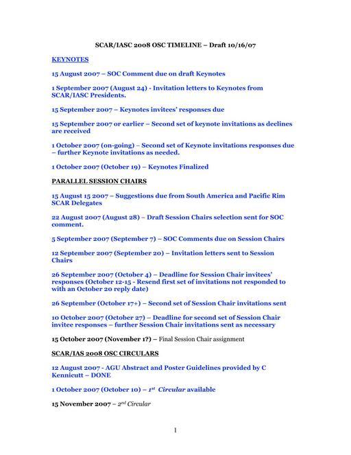 SCAR Open Science Conference 2008 - Timeline