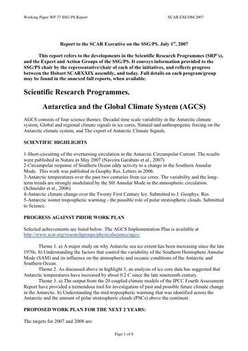 SCAR EXCOM 2007 WP37: Report of the SCAR Standing Scientific Group on Physical Sciences (SSG-PS)
